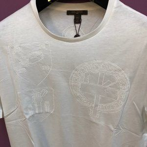 Louis Vuitton Men Chest Embroidery White T-Shirt